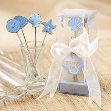50sets (4pcs/set) Wedding favors gifts marine animal Stainless Steel Picks starfish scallop Fruit fork DHL free shipping