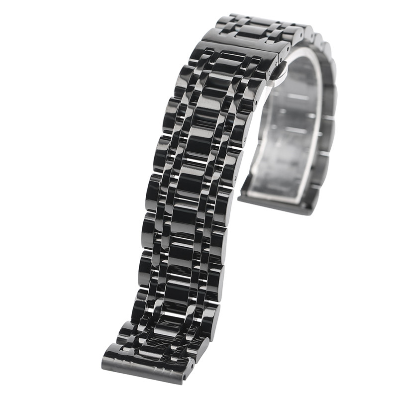 High Quality 20/22mm Solid Black/Gold Stainless Steel Push Buttom Hidden Clasp Best Replacement for Wristwatch Luxury Watchbands<br>