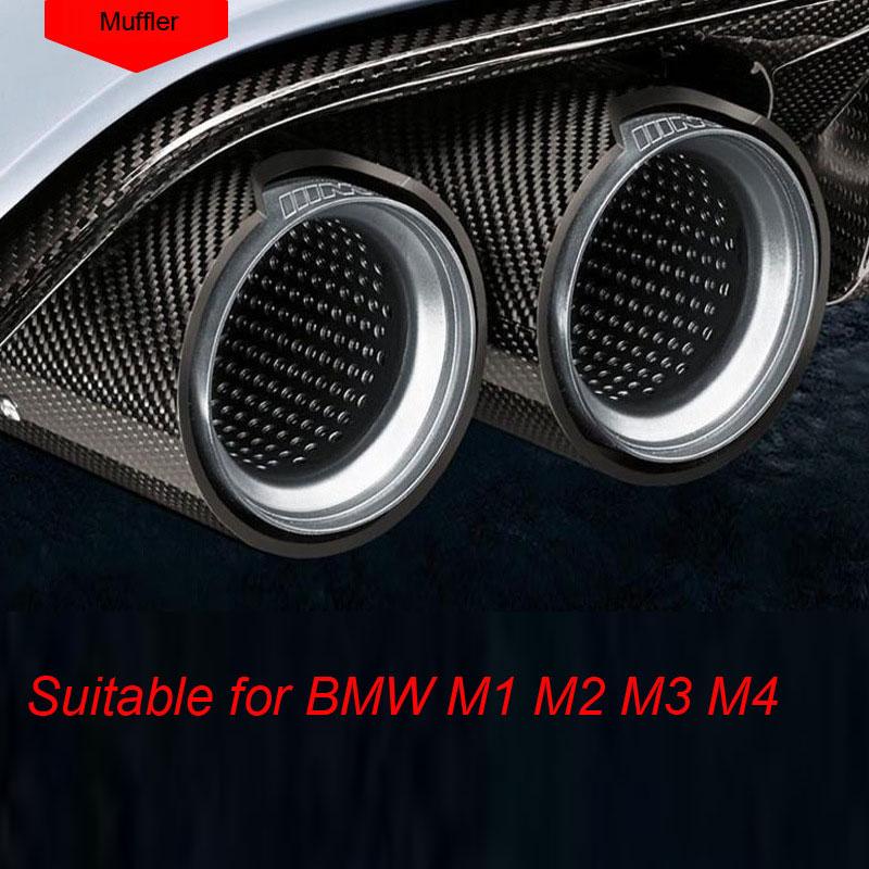 "3.5/"" Car Carbon Fiber Exhaust Muffler Pipe Cover Tip Decoration Case w// Logo 1x"