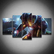 Printed cool movie posters Marvel Iron Man picture painting on canvas 5 panels wall decor for children baby room home Canvas art(China)