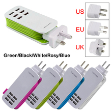EU/US plug 5V 6A 6 Ports USB Wall Charger AC Power Adapter 1.3M long cable ON/OFF Switch travel home carregador