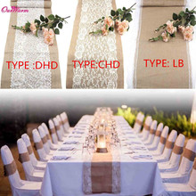 Vintage Burlap White Lace Hessian Wedding Table Runner Natural Jute  Table Decorations