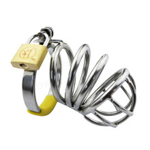 Buy New Cock Lock Stainless Steel Penis Cage Cock Ring Penis Sleeve Male Chastity Device Cage Belt Cockring Bondage Sex Toys Men