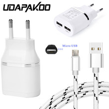 Buy 2 USB port travel EU Charger Adapter + 1M nylon metal plug micro usb cable samsung galaxy S4 S2 honor 9lite Redmi 5 note 5a for $4.19 in AliExpress store