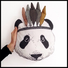 New Fahion Baby Pillow Kids Room Bed Decorative Indian Panda Cushion Children's Best Gift(China)