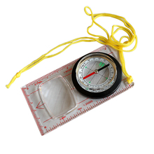 Outdoor Baseplate Ruler Compass Scouts Camping Hiking Map Scale Compass Magnifier Distance Caculating Direction Guide Tool