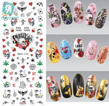 Rocooart DS334 Water Transfer Nails Art Sticker Harajuku Elements Shine Skull Symbol Rose Nail Wraps Sticker Manicura Decal(China)