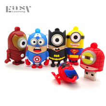 Minions Easy Learning USB Flash Drive Cartoon USB 2.0 4 GB 8 GB 16 GB 32 GB Superman Pen Drive Memory Stick Pendrive Lovely Gift