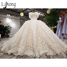 Buy Middle East Puffy Lace Wedding Dresses 2018 Luxury Crystal Tassel Beaded Bridal Gowns Dubai New Shoulder Robe De Mariee for $488.95 in AliExpress store