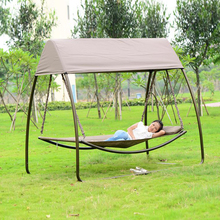 Patio leisure luxury durable iron garden swing chair outdoor sleeping bed hammock with gauze and canopy(China)