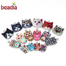10-30pcs Wholesale Owl Cat Enamel Beads Charms Pendants For DIY Jewelry Handmade Bracelet Necklace Accessories,Hole 1.5 2mm(China)