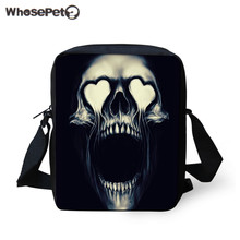 WHOSEPET Men Stylish Messenger Bag Skull Printing Sling Bags For Teenager Boys Fashion Handbag and Purse Brand Designer Tote bag