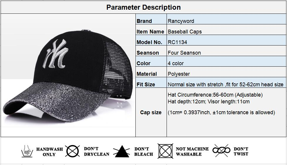 [Rancyword] 17 New Branded Baseball Caps Canada Women's Cap With Mesh Bone Hip Hop Lady Embroidery Hats Sequins RC1134 1