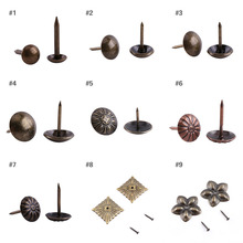 100pcs/pack Vintage Upholstery Nails Bronze Metal Tags Furniture Sofa Shoe Door Decorative Tack Stud