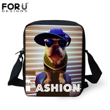 FORUDESIGNS Women Messenger Bags Cool Pug Dog Printing Small Crossbody Bags For Baby Girls Boys Vintage Shoulder Bags Kids Gifts