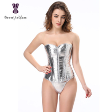 856# Slimming Waist Shapers Cinta Modeladora Slimming Appliques Shapewear Full Silver Bodysuit Front Zipper Corset(China)