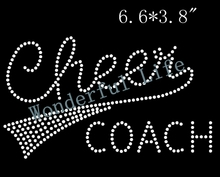"Free shipping hot fix Rhinestone Iron On Transfer ""Cheer Coach"" - Crystal Bling Design Cheerleading Squad"