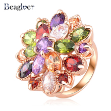 Beagloer Hot Sale Unique Fashion Multicolor Rose Gold Color AAA Zircon Engagement/Wedding bijoux Ring Fine Jewelry Ri-HQ0365-b(China)