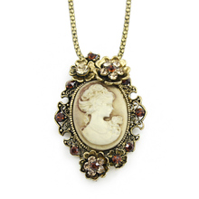 Vintage Cameo fashion chain pendants & necklaces costume sweater women 2016 nickel free tibetan hot selling designer nkeg71