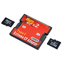 2017 Hight Quality Red Dual Slot Micro SD SDHC SDXC TF to CF Adapter MicroSD to Extreme Compact Flash Type I Card Converter(China)