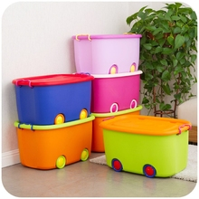 Children's toy storage box cute cars Queen wheeled plastic storage box sorting box(China)