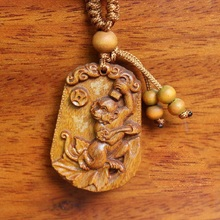 Twelve Chinese Zodiac Signs Monkey Carved Rosewood Pendant Ornament for Cell Phone Handbag Keychain(China)