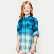 Autumn Teenager Plaid Cotton Shirts Junior Fashion Ombre Blouse Big Babies Casual Tops 2017 childrens clothing