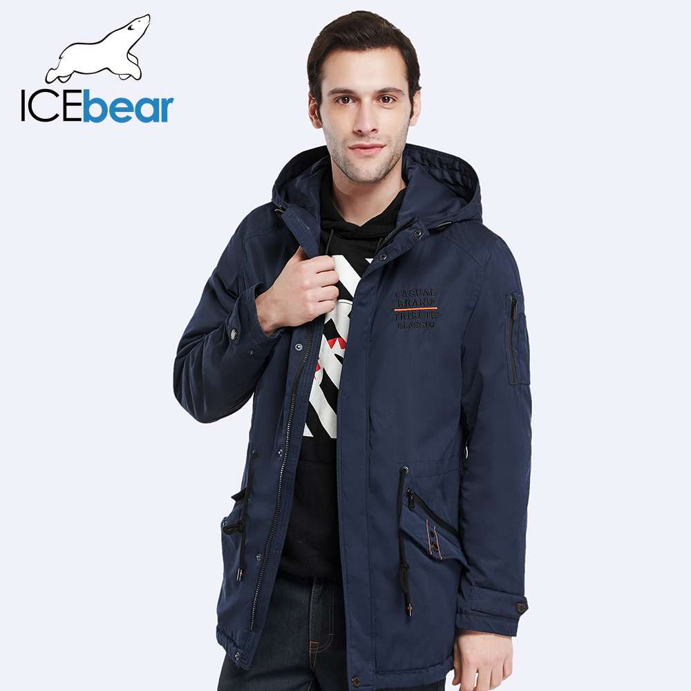 ICEbear 2017 Drawstring Design Tail Brand Thin Casual Cotton-Padded Jacket Men Warm Outwear Autumn Coat Men 17MC216D(China (Mainland))