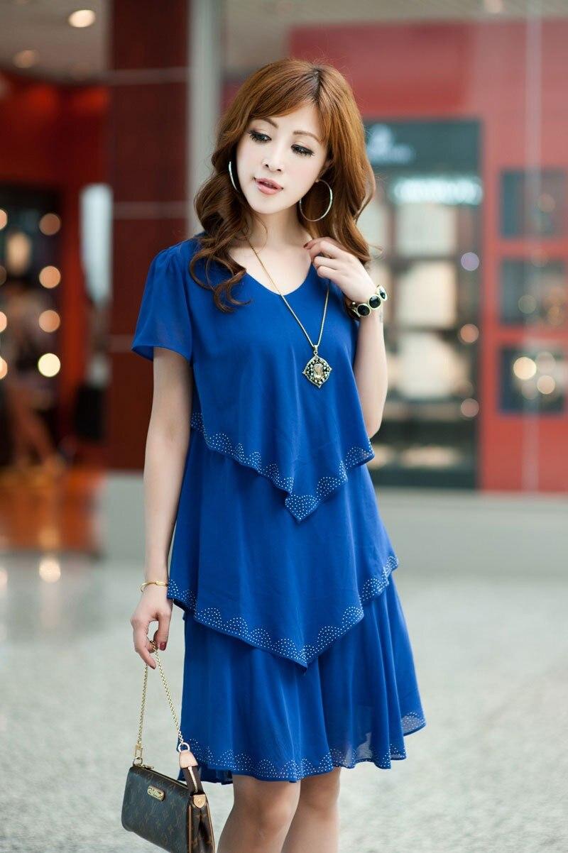 Vestido De Festa Summer Dresses 5XL Plus Size Women Clothing ropa mujer 18 Chiffon Dress Party Short Sleeve Casual Blue Black 10