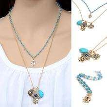 Vintage Multilayer Chain Fatima hamsa Hand Pendants Necklace Luck Hand  Palm nice Necklace collares #86973