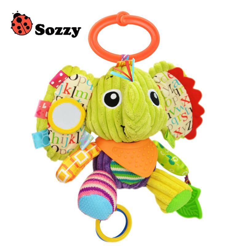 Sozzy Baby Animals Buddies Placate Activity Stuffed Plush Lion Dog Owl Elephant Monkey Teether Toy cm Multicolor Multifunction 8