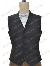 Free Shipping Halloween Costume Classic Black Single Breasted Victorian Steampunk Waistcoat