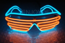Customized El Wire 3Mode 9Color Fashion Neon LED Light Up Shutter Shaped Glasses Rave Costume Party AA For Birthdays Festival