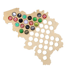 Free Shipping 1Piece Belgium Beer Cap Map Laser Engraved Hanging Wooden Map Soda Pop Caps Holder Collection Art Wall Decor