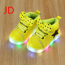 Baby Shoes New Children's Shoes LED Children's Luminous Shoes Girls' Sports Lights High Hand Flashing Shoes(China)