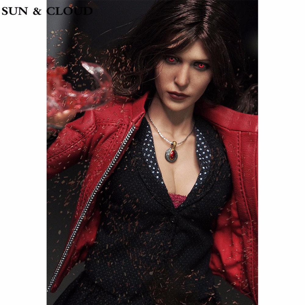 SUN &amp; CLOUD 1/6 Female Head Sculpt Elizabeth Olsen Scarlet Witch Red Eyes Ver Head Carving for 12 Action Figures Accessories<br>