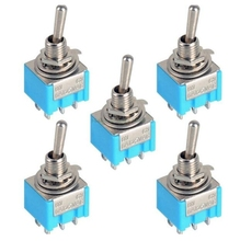 5Pcs DPDT ON-ON 2 Positions 6-pin Latching Miniature Toggle Switch AC 125V 6A