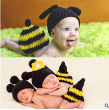 2016 new black baby photo props handmade hats Children bees piece fitted suit children's photography children's photography(China)