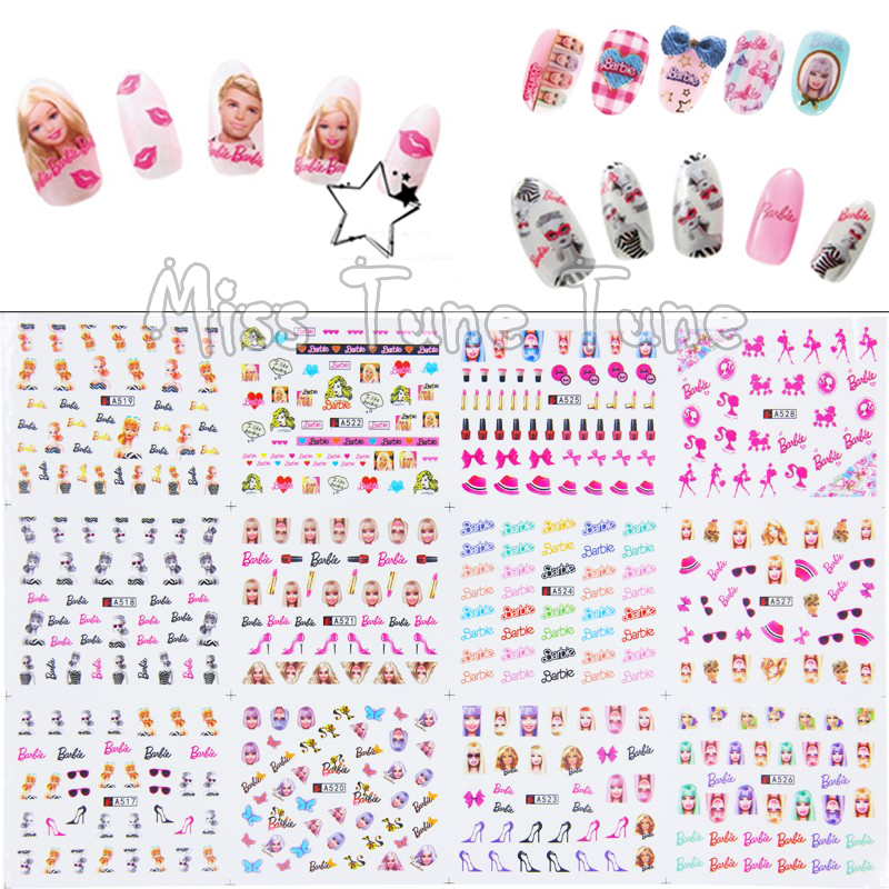 1pcs 12 Sheets/Lot Large Nail Art Water Transfer Water Decal Stickers Tips Barbi Doll High Heel Lipstick Girly Pink Chic Nails<br><br>Aliexpress