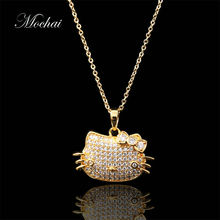 Mocai New Fashion Lovely Silver Plated Hello Kitty Necklace Tiny Cute Cat Pendants Odd Fancy Jewelry Charm Pendant Necklace ZK35