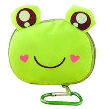 Cartoon Animal Foldable Folding Shopping Tote Reusable Eco Bag waterproof shopping bagGreen frog The hook color is random