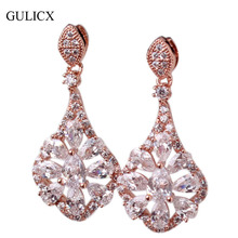 GULICX Women Punk Large Long  Rose Gold Color Earring Drop Chandelier Dangle Earing Zirconia Crystal Wedding Jewelry E052