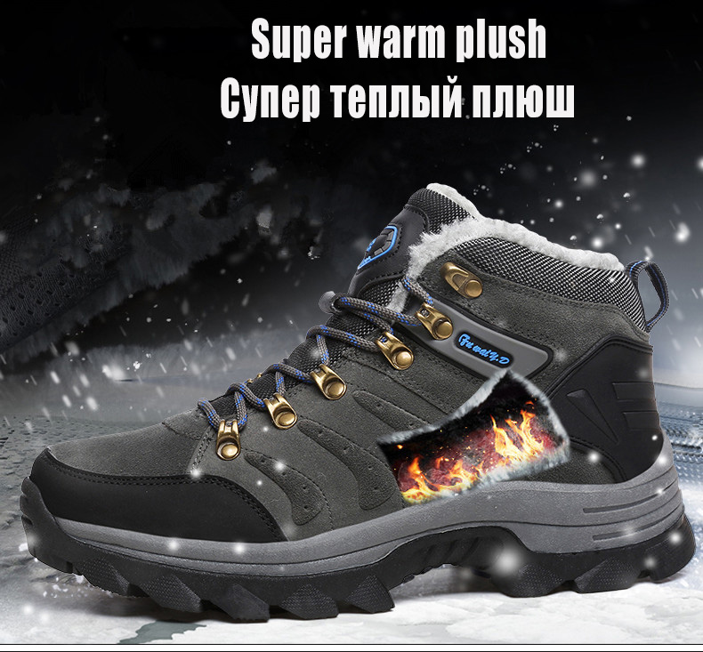 Luxury Men Boots Men Winter Snow Boots Warm Fur&plush Lace Up High Top Work Men Designer Driving Sneakers Male Winter Boots 6