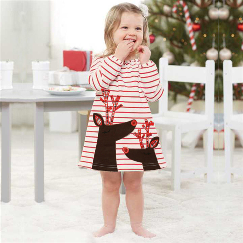 Christmas Clothes Girl Clothes Long Sleeve Girls Dress Toddler Baby Kids Girls Deer Printed Striped Party Princess Dress S12#F (2)