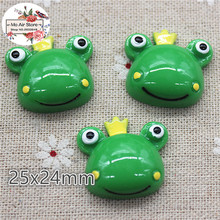10pcs resin Cartoon The Frog Prince flatback cabochon for Hair Bow Center, scrapbook,DIY craft 25mm(China)