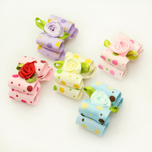Armi store Handmade Designer Dog Accessories Grooming 6023013 Rose Cute Dots Ribbon Hair Bow  Poodle