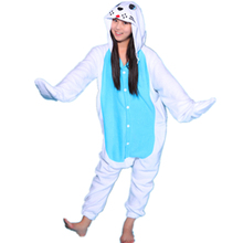 Adult Animal White Fur Seal Morse Walrus Sea Lion Dog Show Perform Cosplay Pajamas Onesie Sleepwear Party Costume