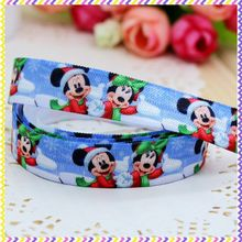 5/8'' Free shipping Fold Over Elastic FOE christmas mickey printed headband headwear hair band diy decoration wholesale OEM B578
