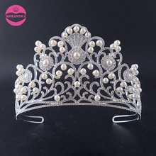 LUOSU Fashion Rhinestone Pearl Prom Queen Crown Crystal Tiaras For Women Bridal Jewelry Pageant Hair Accessories