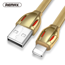 REMAX Laser lighting Flexible data Cable 2.1A 1M fast USB Sync charger adapter gold cable cord for iphone 7/6s/plus/5c/ipad Air(China)